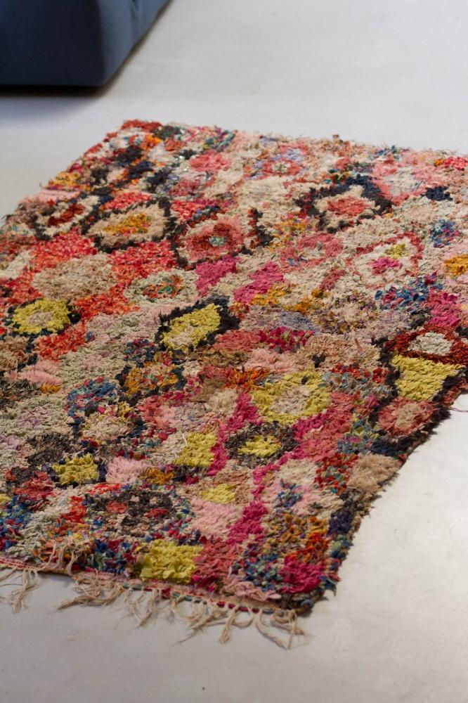 Boucherouite Tapis le tapis boucherouite la vie en rose – cuivre, détails vintage